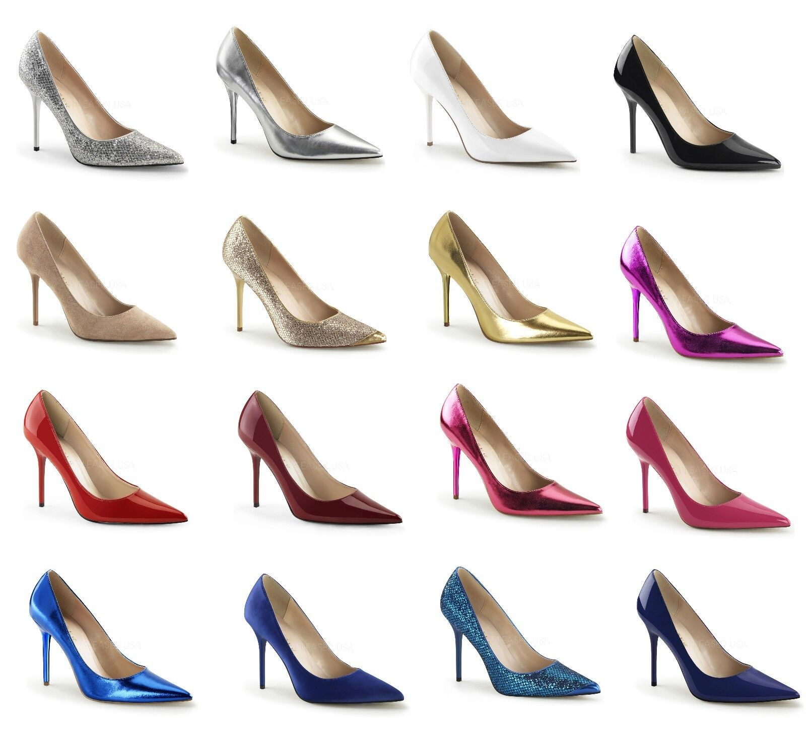 PLEASER CLASSIQUE-20 Sexy 4  Pointed-Toe Pumps Size 5-16