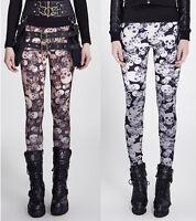 Punk Rave Gothic Skull Print Camouflage Leggings Black/White/Brown Gothic K-259