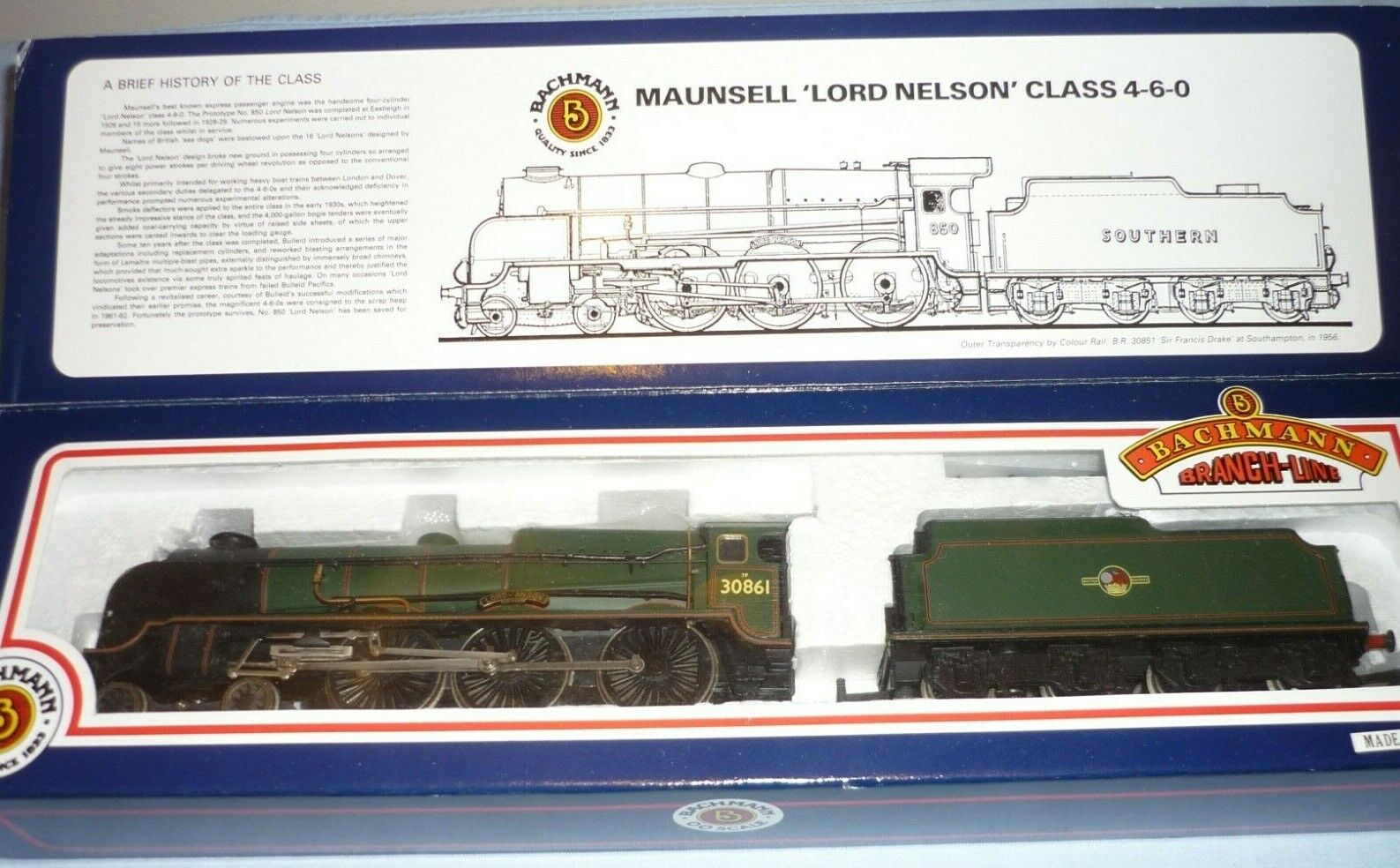 BACHMANN OO GAUGE BR LORD NELSON CLASS 4-6-0 TENDER LOCO 30861 LORD ANSON BOXED