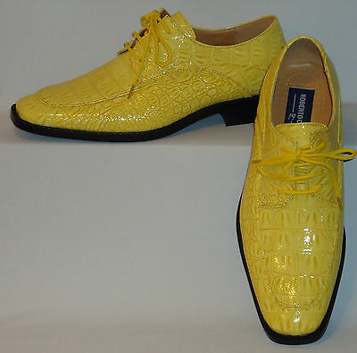 Mens Sunny Yellow Croco Embossed Lace-Up Dress Shoes Roberto Chillini 6548