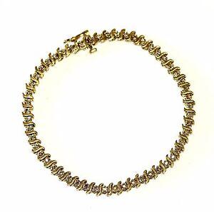 14k-yellow-gold-1ct-I1-brown-diamond-tennis-bracelet-8-9g-vintage-7-5-034-antique