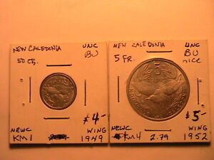 1952 5 Franc BU, 1949 50 Centimes BU Lot 2 New Caledonia Coins French Colonial