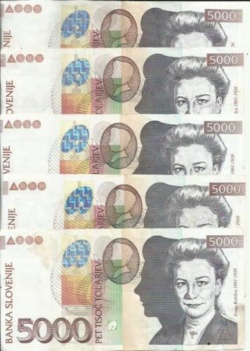 VF CONDITION 3RW 28 SET SLOVENIA 5000 TOLARJEV   P 33 ONE NOTE
