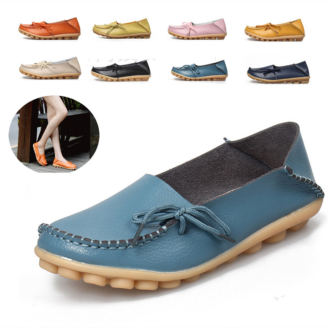 Women's Plus size Genuine Leather Slip-On Loafers Casual Shoes Flat Slip-On Leather Slippers 52eda8