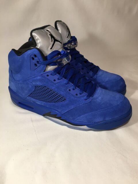 huge selection of d6b0e bc6cf Nike Air Jordan 5 Retro Blue Suede Game Royal Black Men's Sz 10 (136027 401)