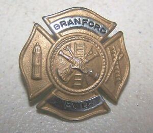 Vintage-BRANFORD-Conn-Fireman-039-s-Hat-Badge-Fire-Dept