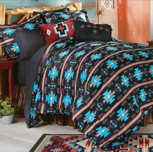 SOUTHWESTERN BLACK TURQUOISE 7pc King COMFORTER /& SHEET SET NATIVE TRIBAL