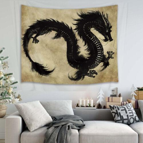 Dragón Negro Tapiz Colgante De Pared Decoración de la Sala de Estar Dormitorio Colcha Dormitorio caliente