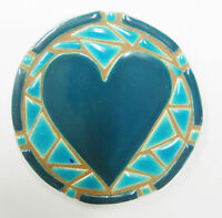 Heart Mosaic Coaster / Plaque / Trivet Handmade Ceramic Tile Teal And Aqua Blue