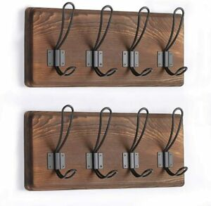 Wall-Mounted-Brown-Wooden-Entryway-Coat-Hooks-4-Rustic-Hooks-Solid-Pine-Wood