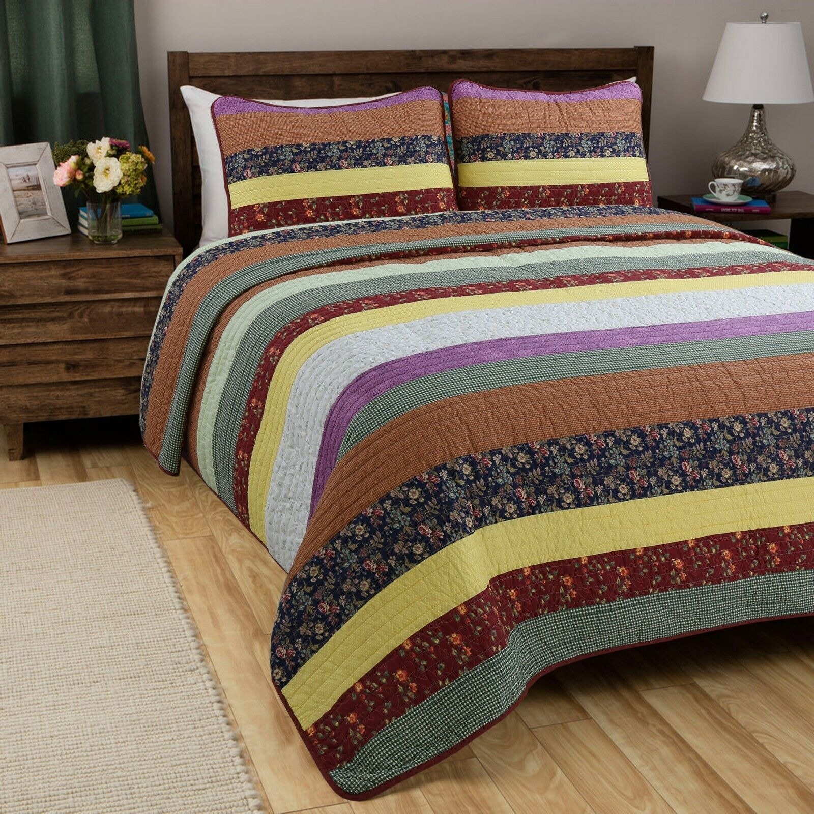 Sagamore Striped 100%Cotton 3-Piece Quilt Set, Bedspread, Coverlet