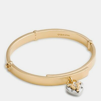Coach Padlock Heart Hinged Bangle Gold F90936 NWT w/ Dust Bag