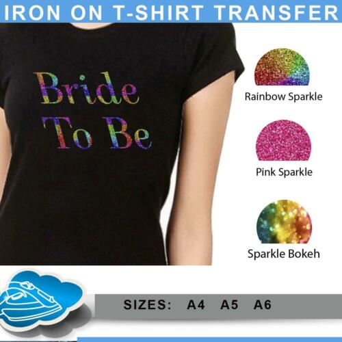 Personnalisé Iron On Transfert T SHIRT SPARKLE Rainbow Poule faire équipe Mariée Top 7714