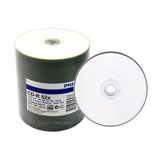 200 PHILIPS 52x CD-R CDR White Inkjet Printable Disc