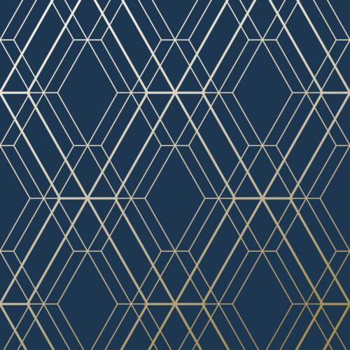 GOLD METRO DIAMOND GEOMETRIC WALLPAPER NAVY BLUE WOW003 WORLD OF METALLIC