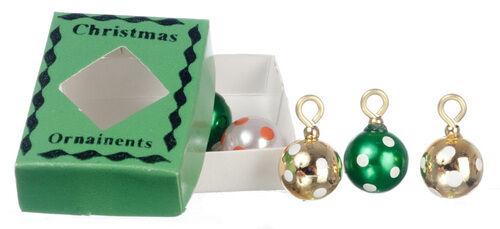 Repéré boules de avec boîte verte décorations de Noël maison poupées