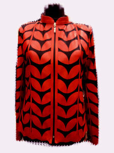 Red Woman Leather Jacket Women Coat Zipper Short Collar All Size Light Meshed D1