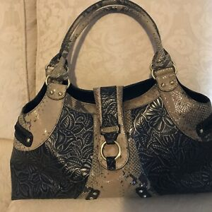 Tan Funky Design Leather Handbag