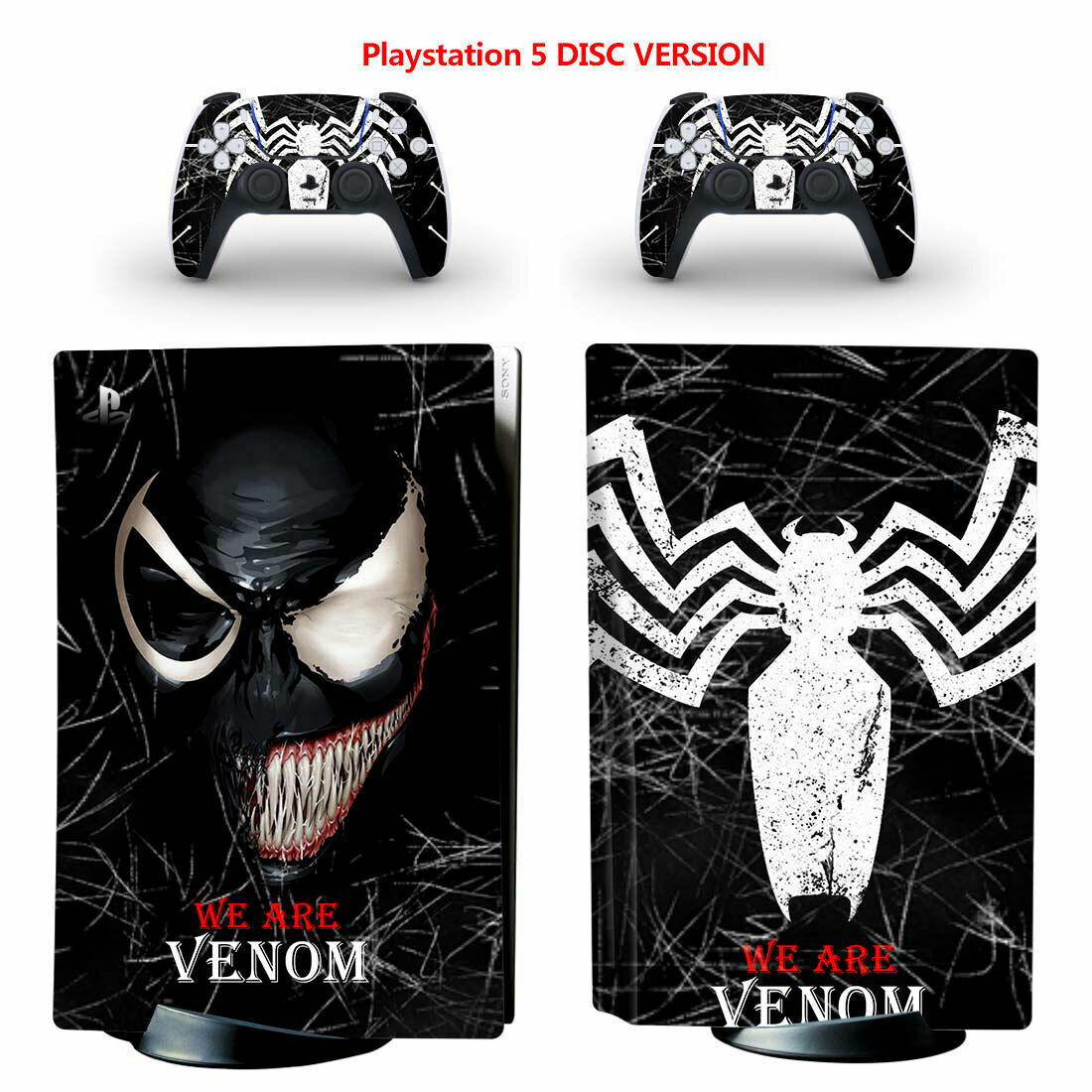 Venom Vinyl Skin Decal Sticker Cover Full Set for Sony PS5 Console Disc Version