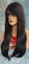 HUMAN HAIR BLEND WIG HEAT SAFE CLR #1B GORGEOUS SEXY LONG STRAIGHT STYLE *242