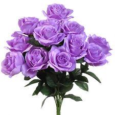 LILAC LAVENDER  12 OPEN LONG STEM ROSES Silk Wedding Flowers Bouquets Decoration