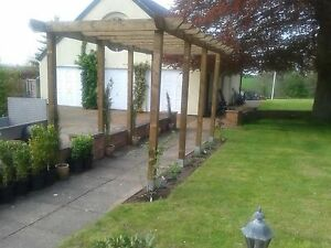 Details About Handmade Wooden Garden Pergola Structure 16ft X 16ft Or Made To Measure