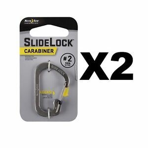 Nite-Ize-SlideLock-Carabiner-2-Stainless-Steel-Locking-10lb-Rated-2-Pack