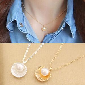 1-Stk-Muschel-Schale-Muster-Halskette-Perle-Kette-Pearl-Necklace-Modeschmuck