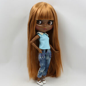 "12/"" Factory blythe Doll 1//6 BJD Long brown golden part hair dark skin joint body"