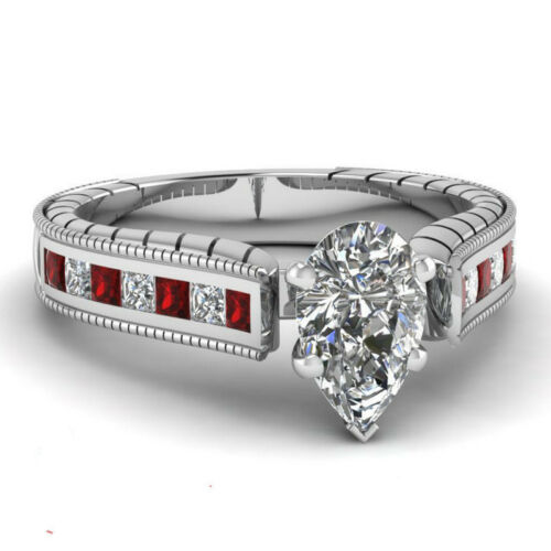 Femmes 925 Argent Bijoux Blanc Saphir magnifique bague de mariage Taille 6-10