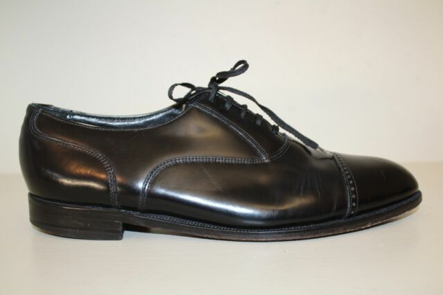 Florsheim Mens Oxford Shoes Size 9.5 D Black Leather Lace Up Cap Toe Dress