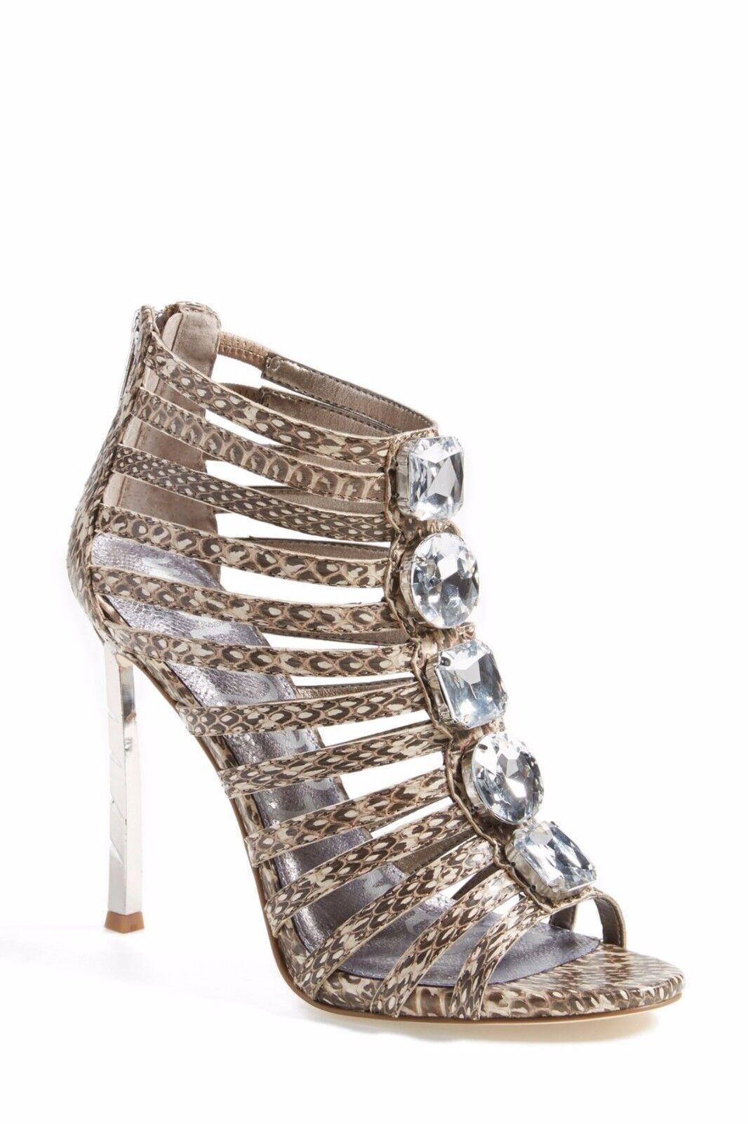 Sam Edelman Dimensione 9 Hampton Leather Snakeskin Print Caged Sandal Heel scarpe  169