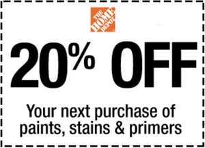 One~1x~ Home Depot Coupon 20% OFF Paint&Stain InStoreOnly lNSTANT~FAST~S