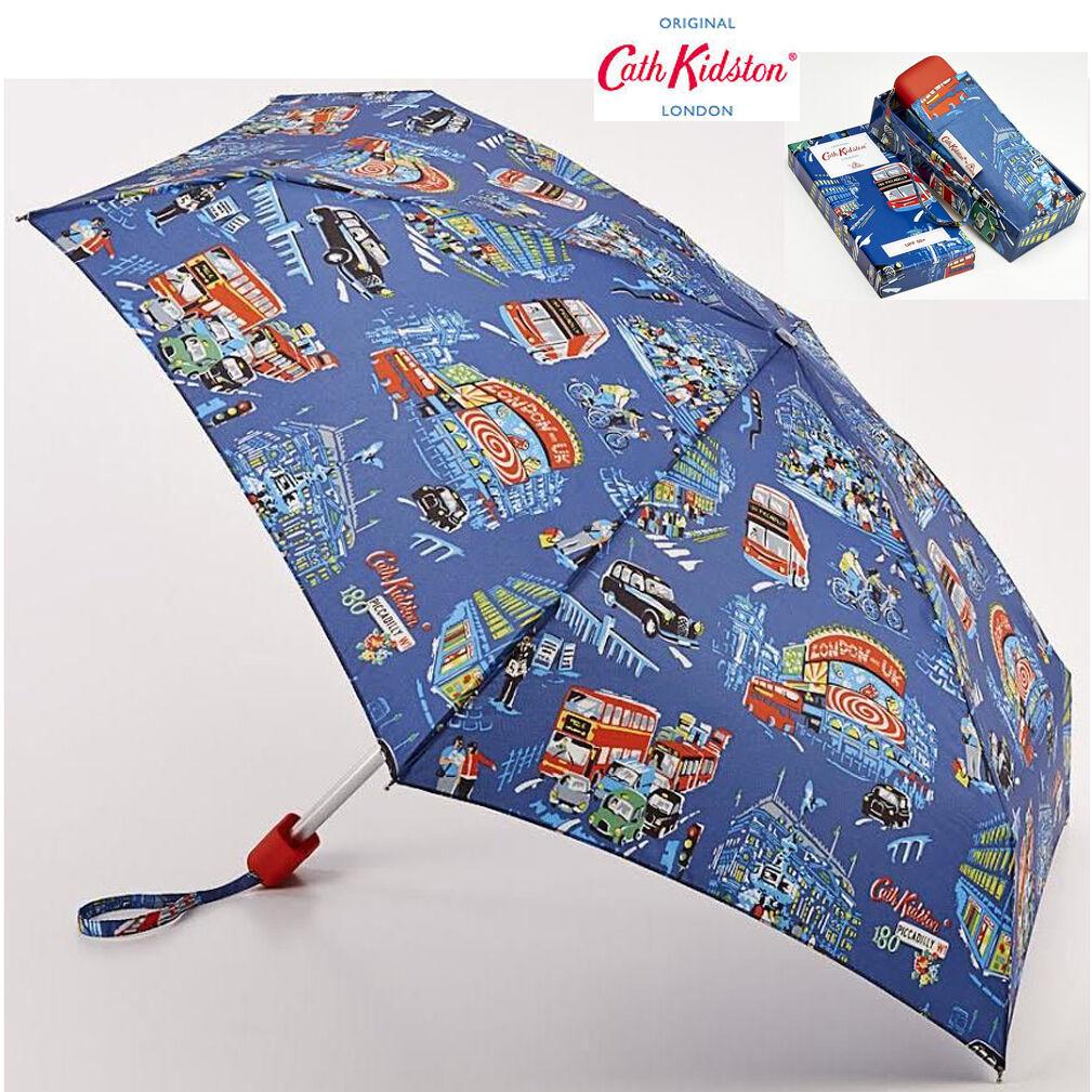 Cath Kidston Piccadilly Compact Tiny Handbag Size Folding Umbrella & Gift Box