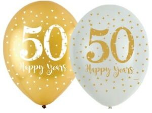 6-X-GOLDEN-ANNIVERSARY-11-034-LATEX-BALLOONS-HELIUM-GOLD-50-YEAR-50th-PARTY-WEDDING