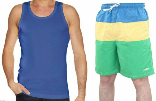 Men Swimwear Cotton Regular Fit Summer Sleeveless Striped Vest Set With Shorts