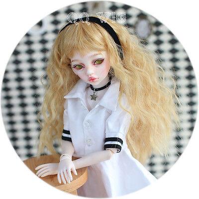 QQ4-18 : 1/4 MSD BJD DOLL Heat resistance fiber wig Ginger Yellow Color Hair
