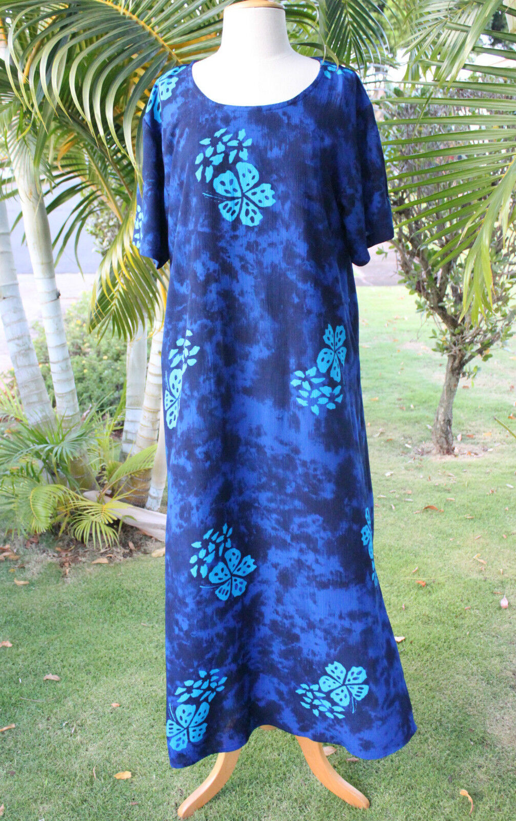 NWT PLUS SIZE Hawaiian Floral Short Sleeve Long Dress  blueE HIBISCUS YF