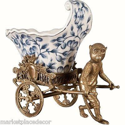 Porcelain Blue & White Whimsical Monkey Bronze Planter Pulling Rickshaw Cart