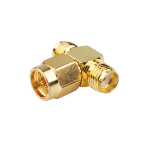 "RF SMA Splitter Joiner 3 WAY ADAPTER /""T/"" Type Male to 2x Female Jack Connector"