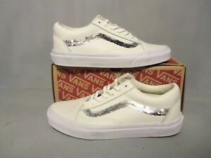 196aa6cb4ed VANS Shiny Sequins Leather Off White Old Skool Womens Shoes NIB! NEW ...