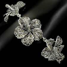 Sterling Silver 925 Genuine Swiss Marcasite Large Flower Design Bracelet 7.5 In