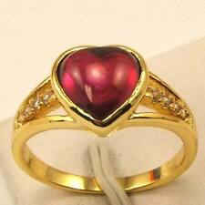 Size 7 Ring,REAL LOVE 18K YELLOW GOLD GP RED HEART GEMSTONE SOLID,Multi-size vp7