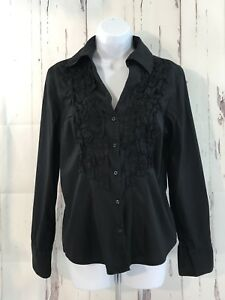 GAP-Womens-Size-Medium-Long-Sleeve-Shirt-Button-Down-Ruffle-Cotton-Blend-Top