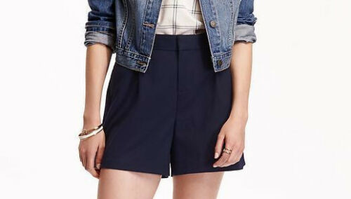 Women/'s OLD NAVY High Rise Twill Shorts BLUE Pleated Size 2 4 8 10 12 16 ~NEW~