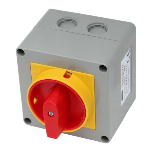 lockable single phase Santon 25A 440V AC isolator switch for inverters 2-pole
