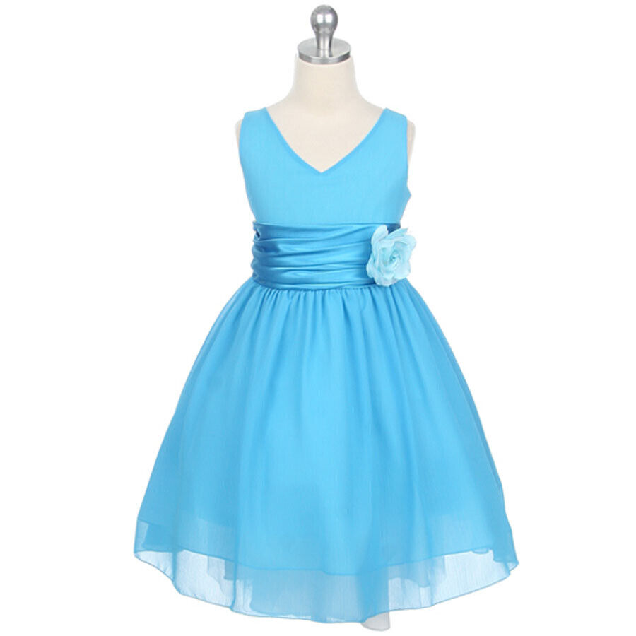 Turquoise V Neck Party Wedding Formal Recital Birthday Flower Girl Dress Size 2