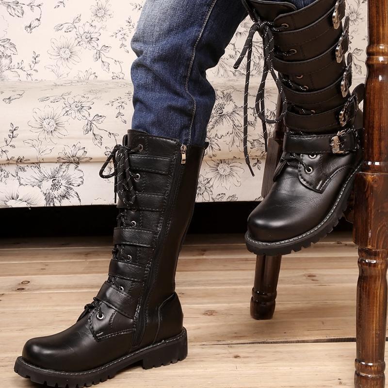 Martin Zapatos Retro Británico botas de motocicleta de gran tamaño de hombre largo superior de alta