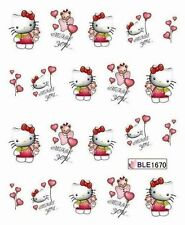 Nail Art Water Decals Hello Kitty Miss You Balloons Teddy Bear BLE1670