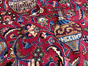10x13-RED-ANTIQUE-PERSIAN-RUG-HAND-KNOTTED-WOOL-RUGS-pictorial-kashmar-9x12-blue